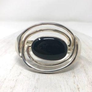 🆕TAXCO Sterling bracelet, large onyx stone, 67.8g